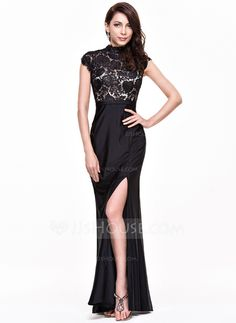 Trumpet/Mermaid High Neck Floor-Length Lace Jersey Evening Dress With Split Front (017065558)