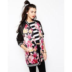Monki Floral Bomber Jacket ($41) ❤ liked on Polyvore