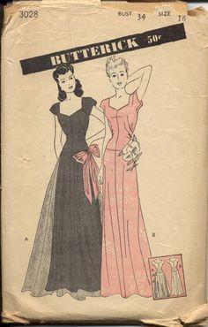 Butterick 3028 Misses 1940s Sheer Overlay Formal Gown Sweetheart Neckline Dance Frock Womens Vintage Sewing Pattern Bust 34. $185.00, via Etsy. Vintage Pattern