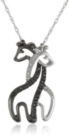 "XPY 10k White Gold Black and White Giraffe Couple Diamond Pendant Necklace, 18"" Amazon Curated Collection,http://www.amazon.com/dp/B007AORUUW/ref=cm_sw_r_pi_dp_8BYUsb1S4T47K8SQ"