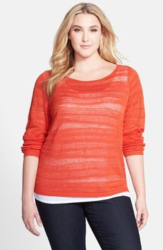 Eileen Fisher Organic Linen Stripe Bateau Neck Top (Plus Size) available at #Nordstrom