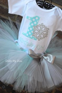 Winter ONEderland Aqua Snowflake Winter Themed Birthday SHIRT ONLY