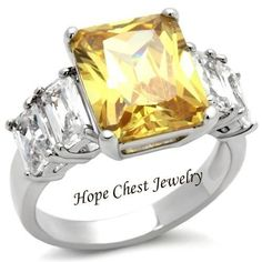 WOMEN'S SILVER TONE 5 TONE YELLOW & CLEAR AAA CZ ANNIVERSARY RING SIZE 5-10 #HopeChestJewelry #SolitairewithAccents
