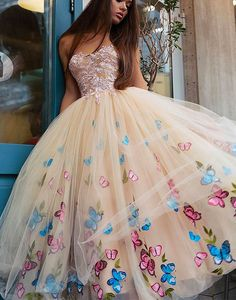 champagne tulle prom dress shop here