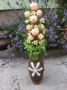 saténová kytica ruže Planter Pots, Handmade, Hand Made, Handarbeit