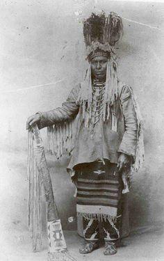 Morning Owl in stand-up bonnet and regalia - Blackfeet (Pikuni) - 1900 - Credit: Blackfeet THPO
