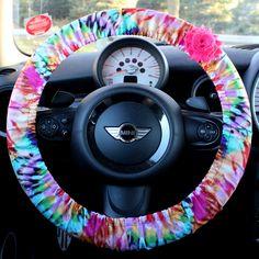 Tye Dye Steering Wheel Cover Car Accessories for Her w/ Shabby Rose Flower Hippie Trending Rocker Boho Psychadelic 60's Rainbow Lilly by PickleAndRaRa on Etsy https://www.etsy.com/listing/173834189/tye-dye-steering-wheel-cover-car