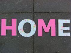 ... met stof en houten letter  decoratie  Pinterest  Letters and Met