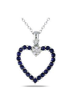 Sapphire & Diamond Pendant In Silver