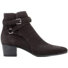 Saint Laurent Blake 40 Jodhpur Suede Ankle Boots ($995) ❤ liked on Polyvore featuring shoes, boots, ankle booties, suede ankle booties, black suede booties, black suede boots, black booties and black suede ankle booties