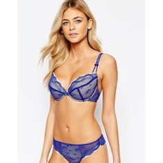 Lepel Sophie Push Up Bra A-E ($37) ❤ liked on Polyvore featuring intimates, bras, blue, lace underwire bra, underwire push up bra, blue bra, push up bra and underwire bra