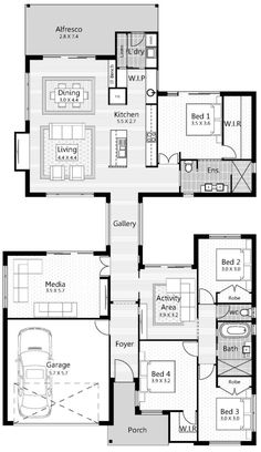 Floor Plan Friday: Gallery walk-through with master/living on the back (Katrina Chambers) Best House Plans, Dream House Plans, Modern House Plans, Modern House Design, Modern Floor Plans, The Plan, How To Plan, Home Design Floor Plans, Plan Design
