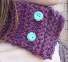 Neckwarmer Cowl in Fig  Vintage Buttons by tessacotton on Etsy, $19.00