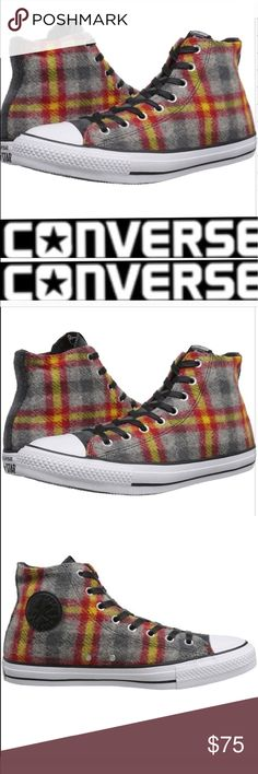 RARE Converse Woolrich Wool Hi-Tops NWOT Woolrich Wool Converse All Star Hi Tops brand new without box or tag.  Authentic Woolrich wool Plaid in gray, red and yellow.           Unisex -women's size 8 = Men's 6 and the Women's size 7 = Men's 5 based on Converse Size Charts Converse Shoes Sneakers