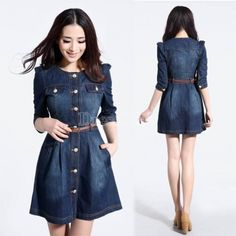 Fashion Women's Thin Blue Slim Jeans 1/2 Sleeve Plus Size Denim Dress With Belt