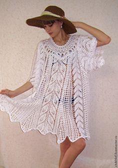 """Купить Вязаное пляжное платье """"Морская принцесса"""" - белый, ажурная туника, ажурное платье"""