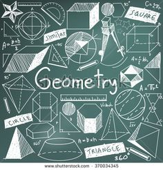 Geometry math theory and mathematical formula chalk doodle handwriting icon in blackboard background with hand drawn geometric model used for school education and document decoration, create by vector