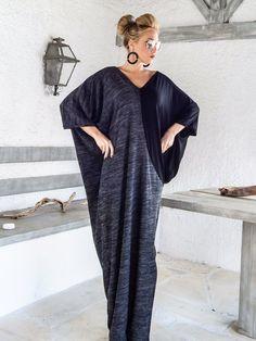 Warm Wool Maxi Dress Kaftan / Winter Warm Long by SynthiaCouture