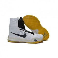 def9166f8d2 The cheap Authentic Nike Kobe X Elite High Top White Black Yellow Shoes  factory store are awesome pair of shoes but it seems the super high top  design isn t ...