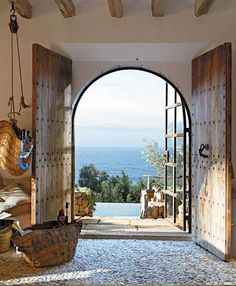 #french #home #style @artisanslist ❤️ ❤️ ❤️ Ocean living, Normandy France… those doors and that view!