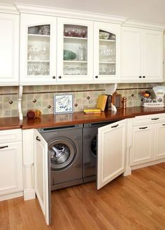 Sometimes there's not enough room for a full blown laundry room, so here are great and useful laundry in kitchen design ideas that you may find interesting. Laundry In Kitchen, Laundry Nook, Laundry Room Design, Diy Kitchen, Kitchen Decor, Kitchen Cabinets, Kitchen Storage, Small Laundry, Hidden Laundry