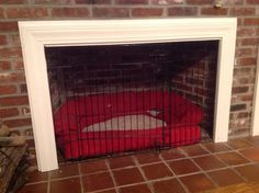 Convert unused fireplace to  dog crate.kit includes by Dogcrate