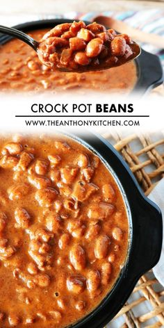 Pinto Beans made with an extra side of flavor thanks to smoky, thick-cut bacon, onion, and chili powder. These no-soak Crock-Pot Beans take only 10 minutes to prep and yield the most delicious Pinto beans you've ever tasted. Serve Crock-Pot Beans for a budget-friendly weeknight dinner, or as a side dish to BBQ or Mexican food! Potluck Recipes, Side Dish Recipes, Mexican Food Recipes, Ethnic Recipes, Beans In Crockpot, Barbecue Side Dishes, Thick Cut Bacon, Pinto Beans, Dried Beans