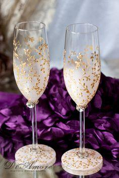 Blush pink & gold wedding toasting flutes champagne от DiAmoreDS