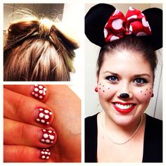 Minnie Mouse makeup, mani and hair by Nelson Nelson Lynne. Pair with a black dress, red tights and white pumps. Minnie Mouse Dress Up, Minnie Mouse Halloween, Mickey Y Minnie, Holidays Halloween, Halloween Make Up, Halloween Decorations, Halloween Party, Disney Inspired Makeup, Disney Makeup