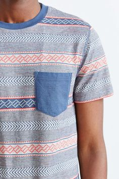 BDG Jacquard Stripe Pocket Slim-Fit Tee