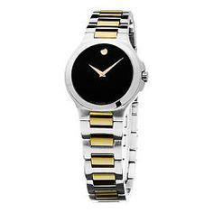 Movado Women's 0606182 Museum Stainless Steel Two-tone Bracelet Black Dial Watch