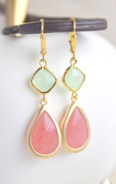 Coral Pink and Mint Dangle Earrings in Gold.