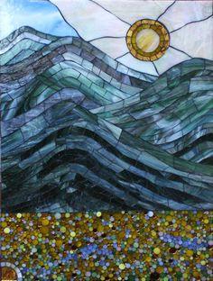 Catskills a stained glass mosaic by Kasia Polkowska  https://www.facebook.com/KasiaMosaics