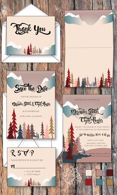 Grand Budapest Hotel inspired wedding invitation suite, perfect for any fall wedding, rustic wedding, mountains, woods, outdoor wedding.