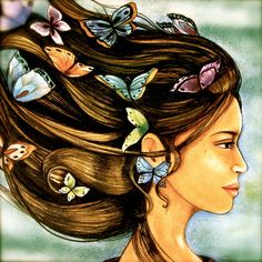 woman with butterflies in her hair art print by PrintIllustrations, $20.00