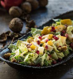 Pear, Walnut Pomegranate Salad with Maple Dijon Dressing —Raw Food Rawmazing Raw Food