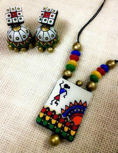 Samruddhi Crafts Ethnic Terracotta Jewellery by SamruddhiCrafts Diy Fabric Jewellery, Paper Jewelry, Polymer Clay Jewelry, Jewelry Crafts, Beaded Jewelry, Terracotta Jewellery Making, Terracotta Jewellery Designs, Terracotta Earrings, Beaded Necklace Patterns
