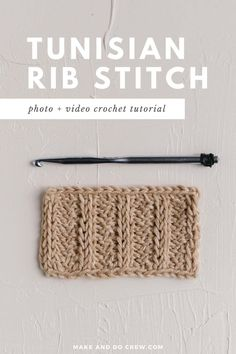 Learn how to crochet the Tunisian rib stitch in this easy photo and video tutorial from Make and Do Crew. Use it in Tunisian crochet ribbing to mimic the look of knitting! Perfect for Tunisian crochet sweaters, blankets, afghans and other home decor patterns. #makeanddocrew #tunisiancrochet #tunisianribstitch