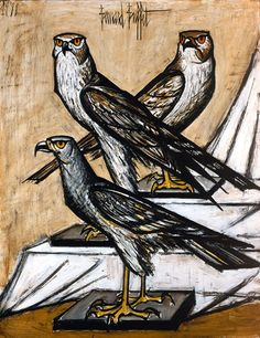 Bernard Buffet - Trois busards - 1988, oil on canvas - 146 x 114 cm