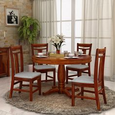 Buy Zuari Dining Table Set 4 Seater Wenge Finish - Piru Online India ...