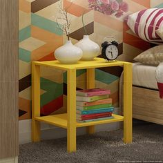 Mesa Lateral/Criado-mudo Olic Amarelo