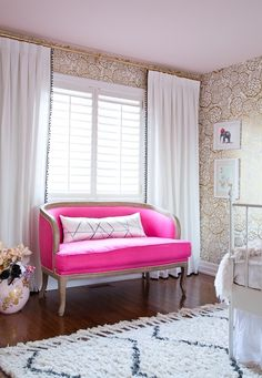 Hot pink bedroom sofa: http://www.stylemepretty.com/living/2015/07/08/the-prettiest-sofas-ever/