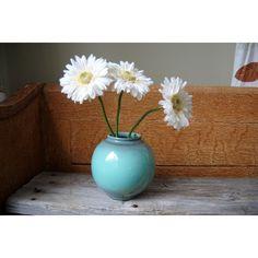 Vintage Round Turquoise Ceramic Vase Mid Century Modern Aqua Drip Vase ($24) ❤ liked on Polyvore featuring home, home decor, vases, blue green vase, aqua home accessories, turquoise vase, ceramic home decor and aqua home decor