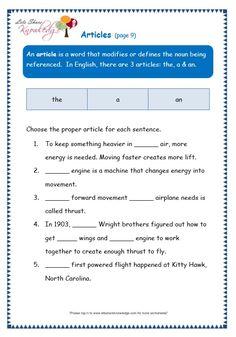 Grade 3 Grammar Topic Articles Worksheets - Lets Share Knowledge English Grammar Worksheets, Learn English Grammar, 1st Grade Worksheets, Grammar Lessons, Teaching English, English Language, Nouns Worksheet, Jolly Phonics, Grade 3