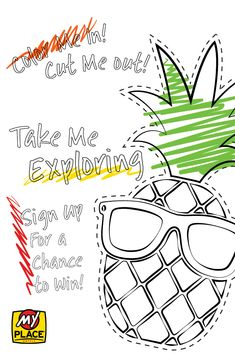 Headed on a vacation this summer? Take Pineapple Pete with you! Color him in, cut him out and take him wherever you go! Submit your photos on social media by tagging them with #MyPlaceMyPic or email them to marketing@myplacehotels.com Contest Rules, Take My, Exploring, Coloring Pages, Pineapple, Adobe, Social Media, Marketing, Vacation