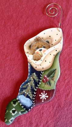 Bear Snuggled In Stocking hand painted Wood by Bronsonscraftsnsuch, $5.50