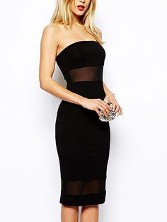 Tulle Insert Off Shoulder Bodycon Dress