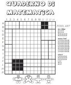 Copertine per i quadernoni nella scuola primaria Math Games, Math Activities, Maths, Pixel Art, Coding, Education, Primary Music, Geometric Art, Tecnologia