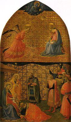 1430-1434, Fra Angelico (-1455) Annunciazione e adorazione dei magi,42×25 cm,Museo Nazionale di San Marco.
