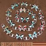 Multicolor Inlay and Genuine Sterling Silver Butterfly Concho Belt At SilverTribe